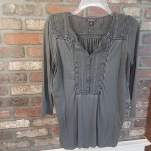 Lucky Brand Gray Button Up Peasant Crochet Top